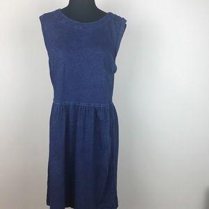 LOFT chambray blue sleeveless midi dress size 8
